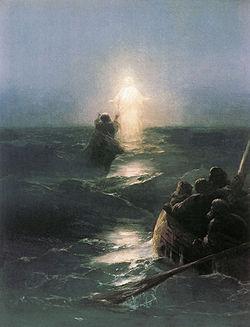 """Jesus walks on water (""""Yesus berjalan di atas air"""") karya Ivan Aivazovsky (1888)"""