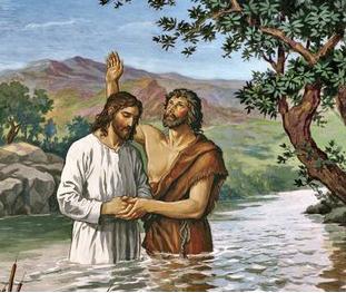 Yesus dibaptis di sungai yordan